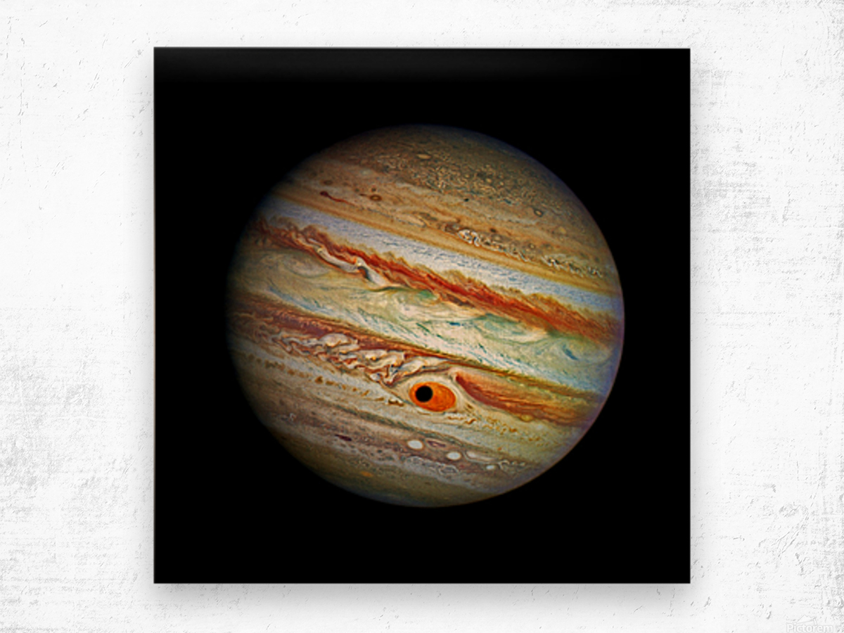 Jupiter with Ganymede Outer Space Image Wood print