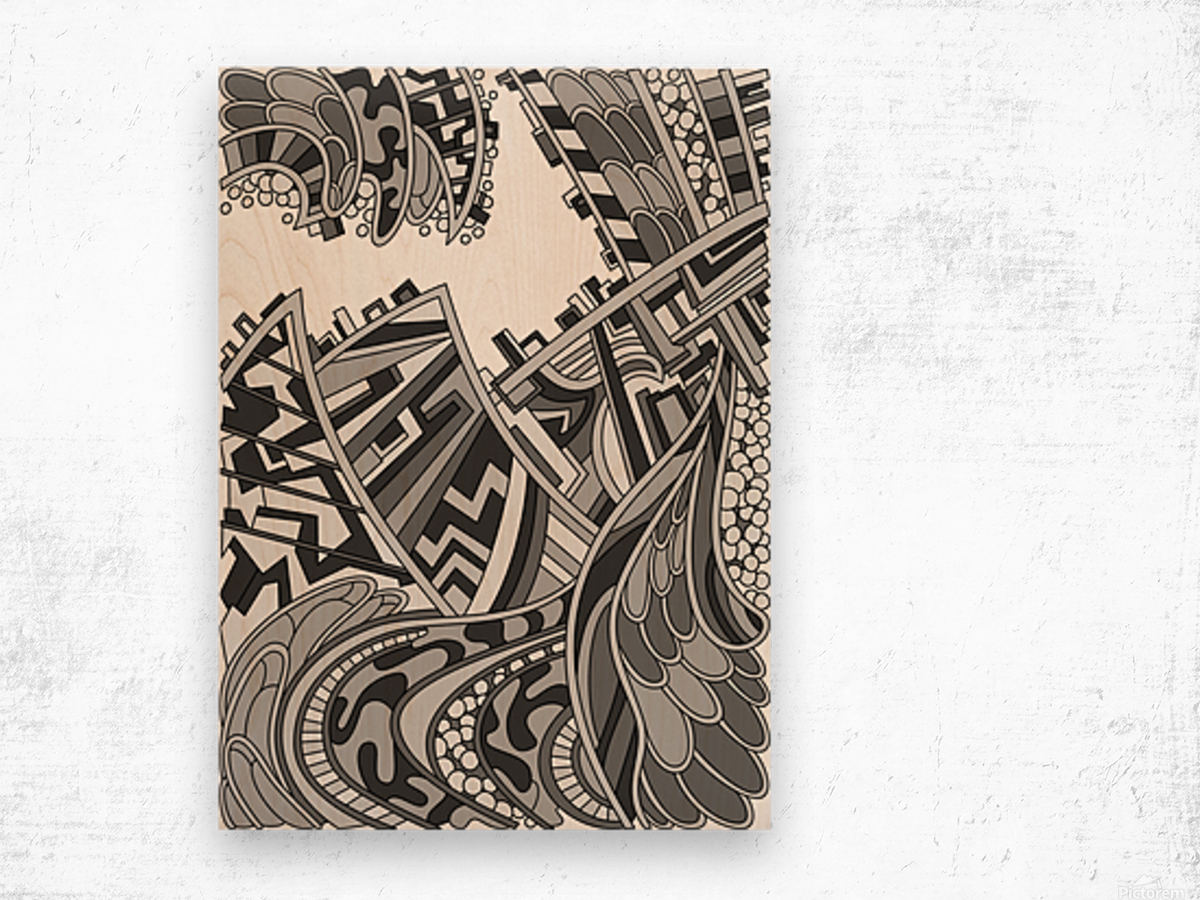 Wandering Abstract Line Art 01: Grayscale Wood print