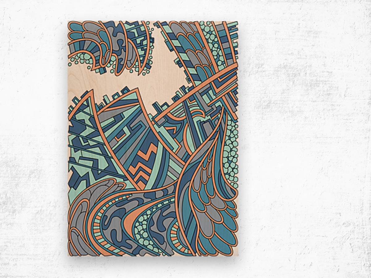 Wandering Abstract Line Art 01: Blue Wood print