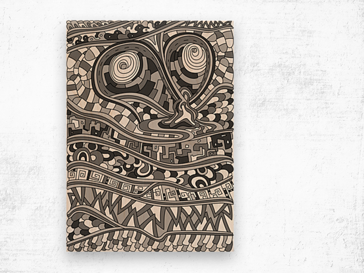 Wandering Abstract Line Art 03: Grayscale Wood print