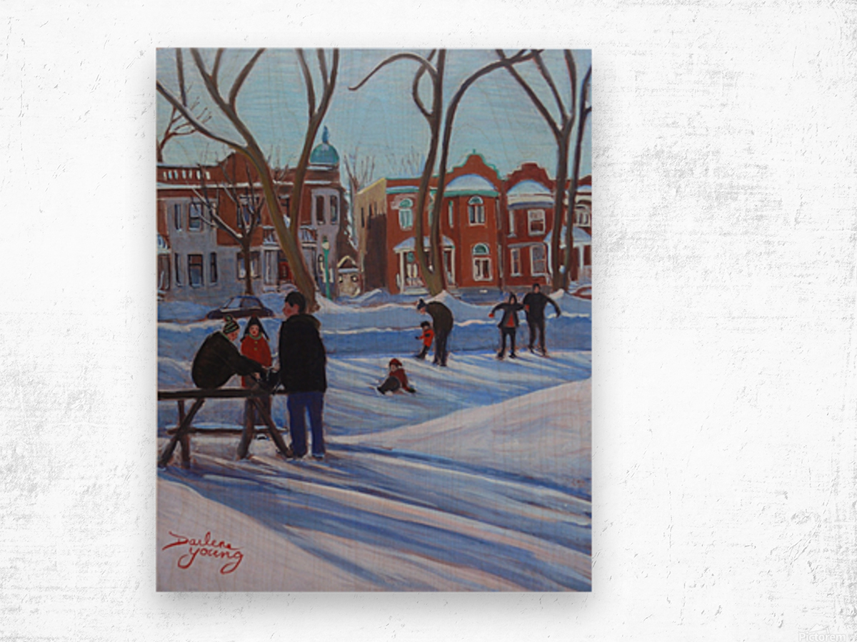 Learning to Skate at Outremont Park Wood print