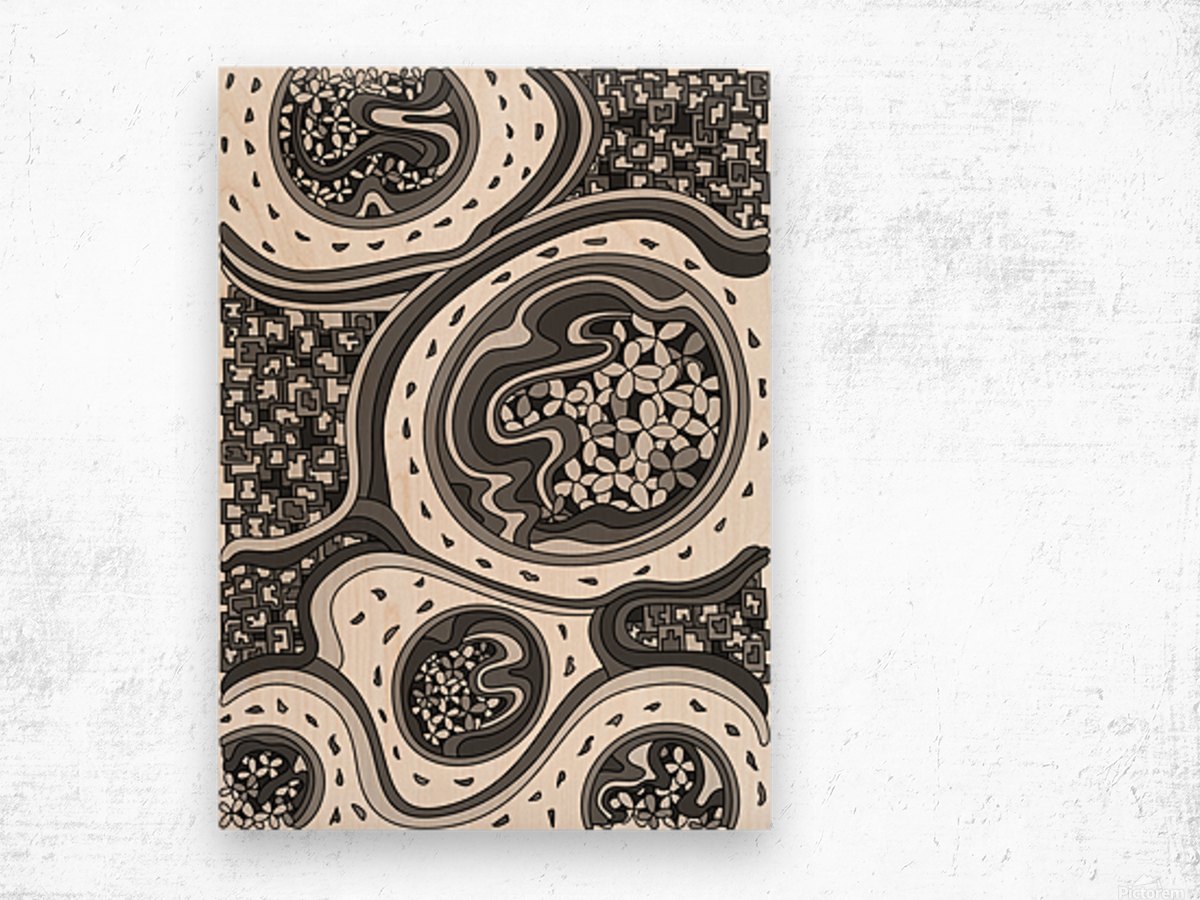 Wandering Abstract Line Art 06: Grayscale Wood print