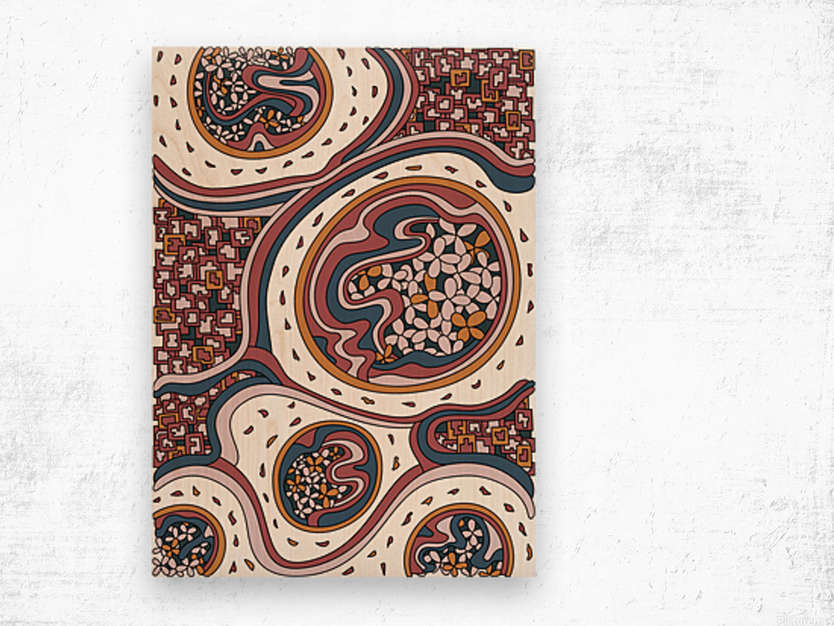 Wandering Abstract Line Art 06: Orange Wood print