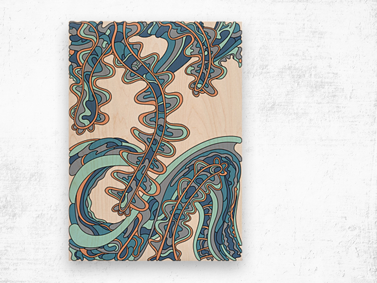 Wandering Abstract Line Art 07: Blue Wood print