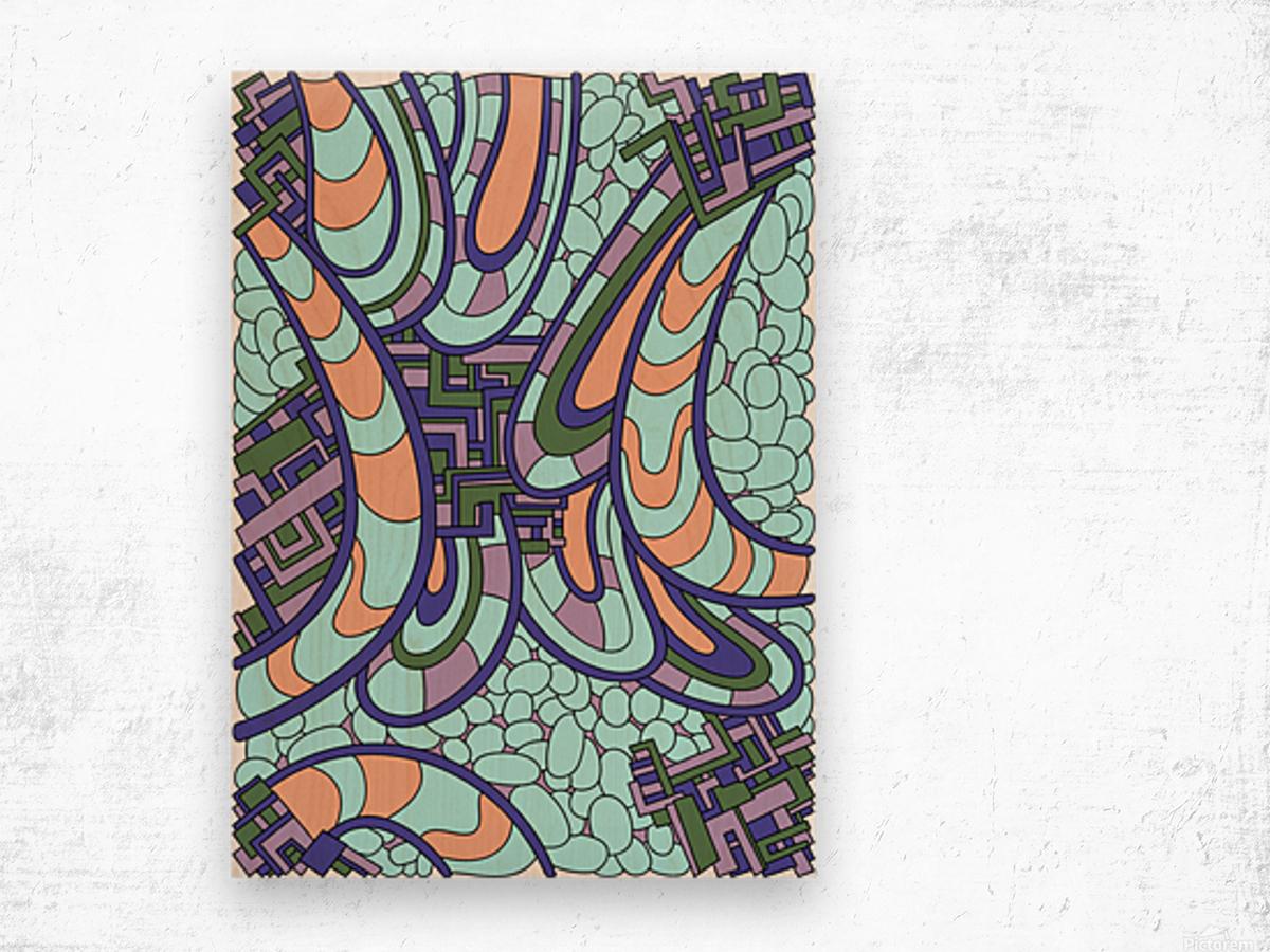 Wandering Abstract Line Art 09:  Wood print