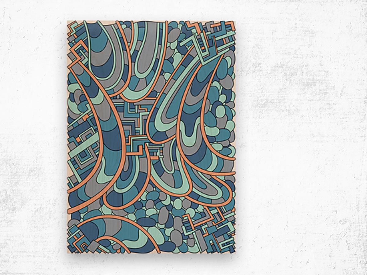 Wandering Abstract Line Art 09: Blue Wood print