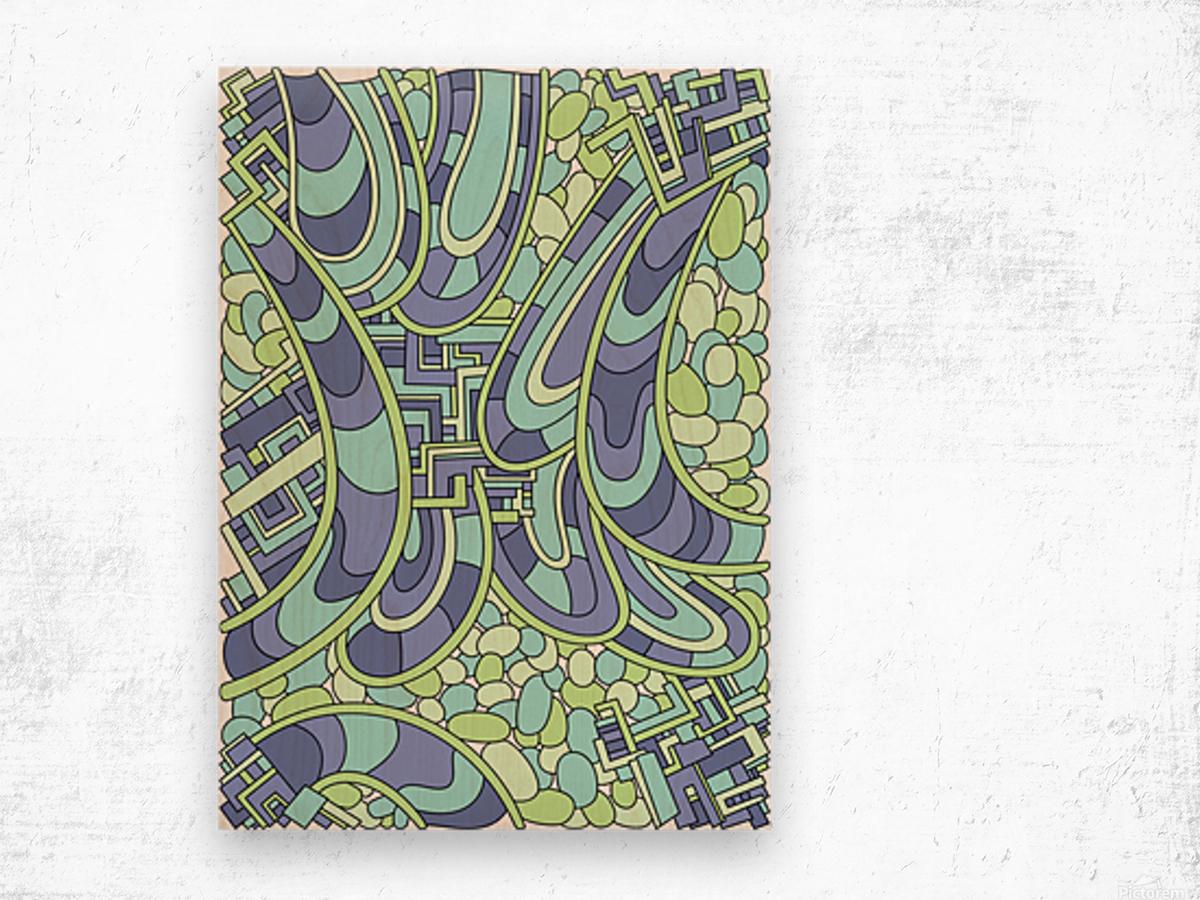 Wandering Abstract Line Art 09: Green Wood print