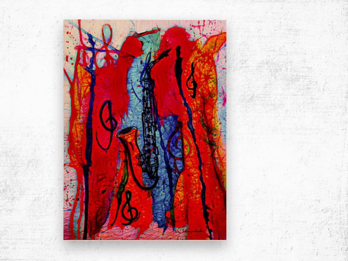 Saxophone Electrified Wood print