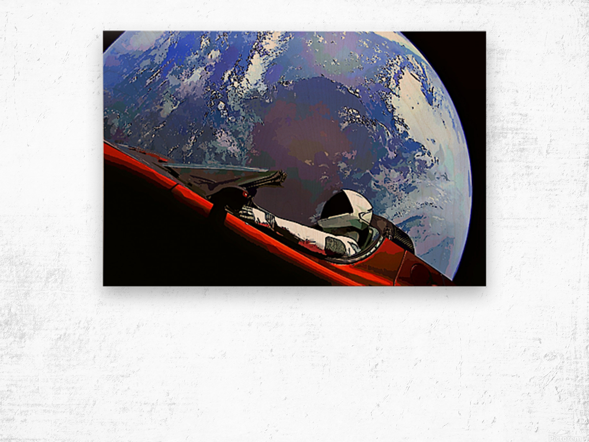 StarMan in Tesla Above Planet Earth Wood print