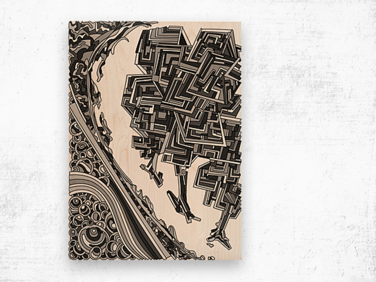 Wandering Abstract Line Art 12: Grayscale Wood print