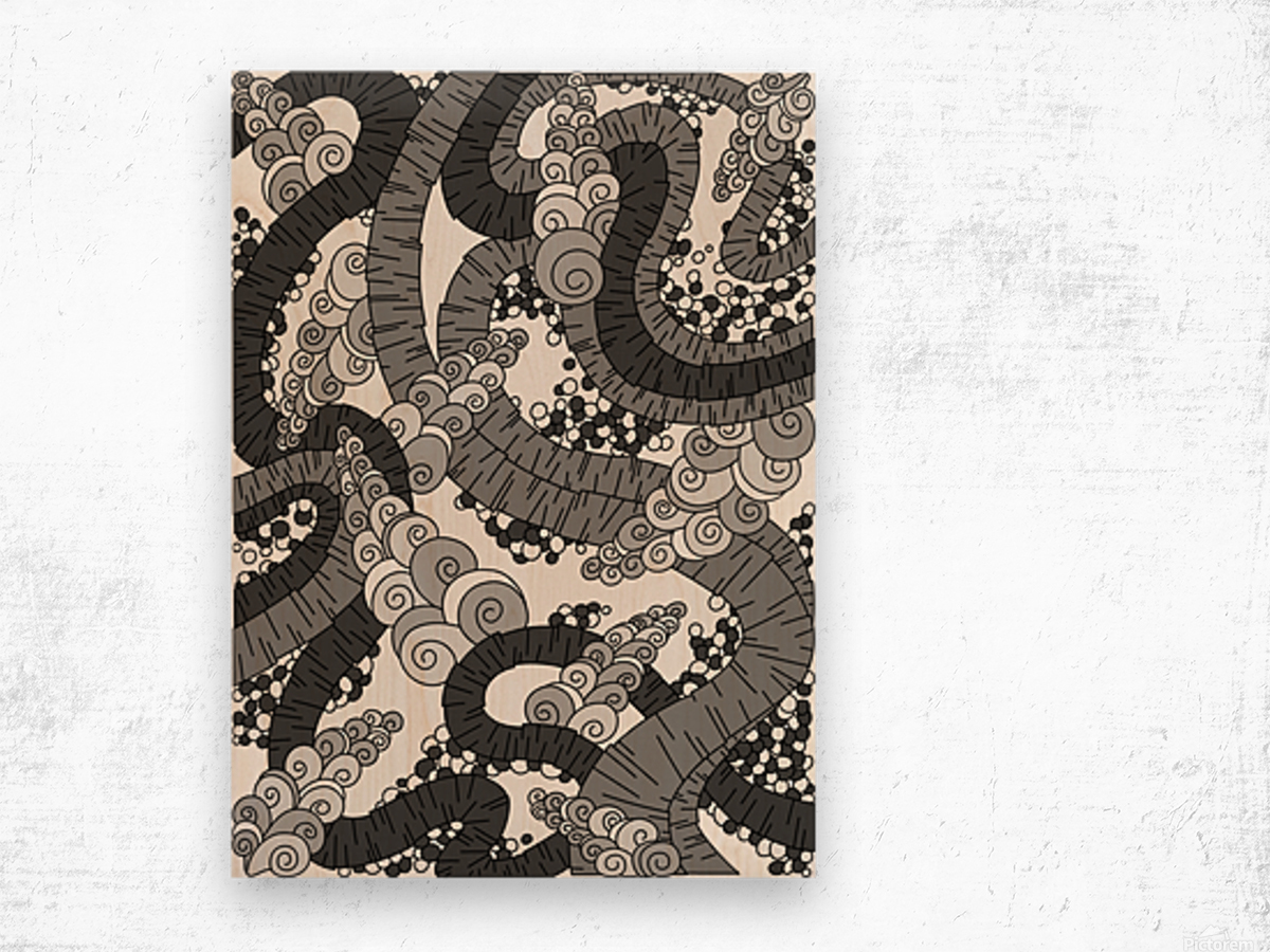 Wandering Abstract Line Art 13: Grayscale Wood print