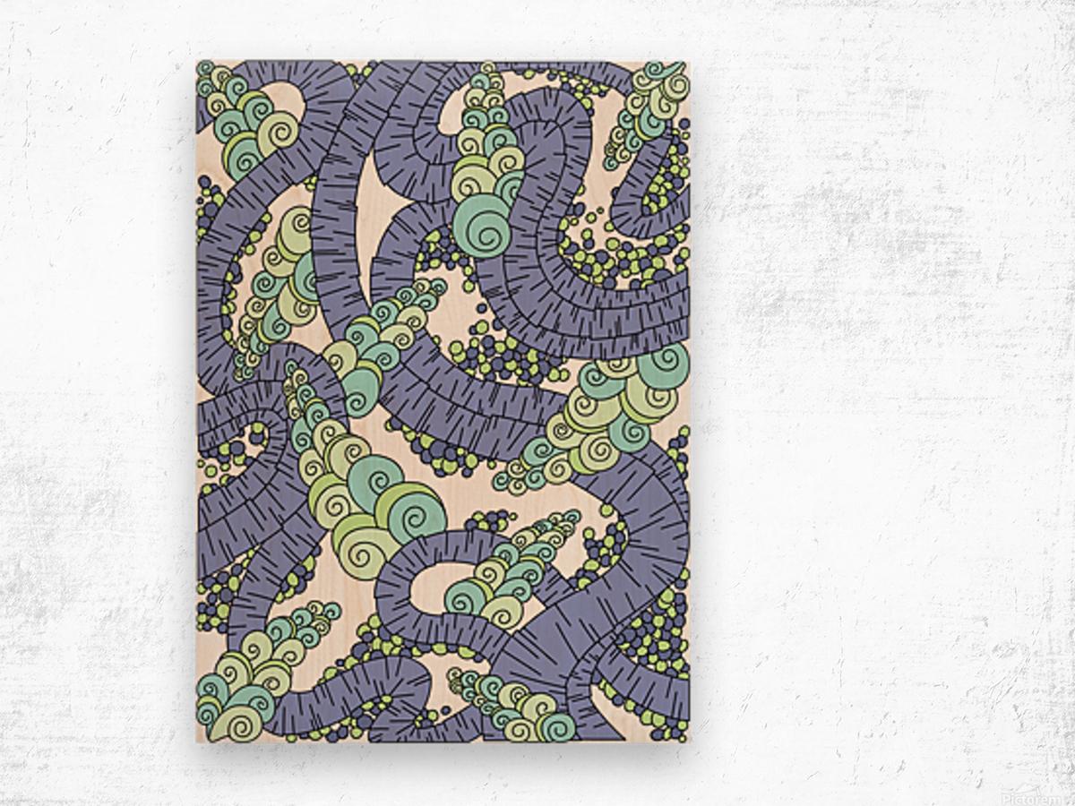 Wandering Abstract Line Art 13: Periwinkle Wood print