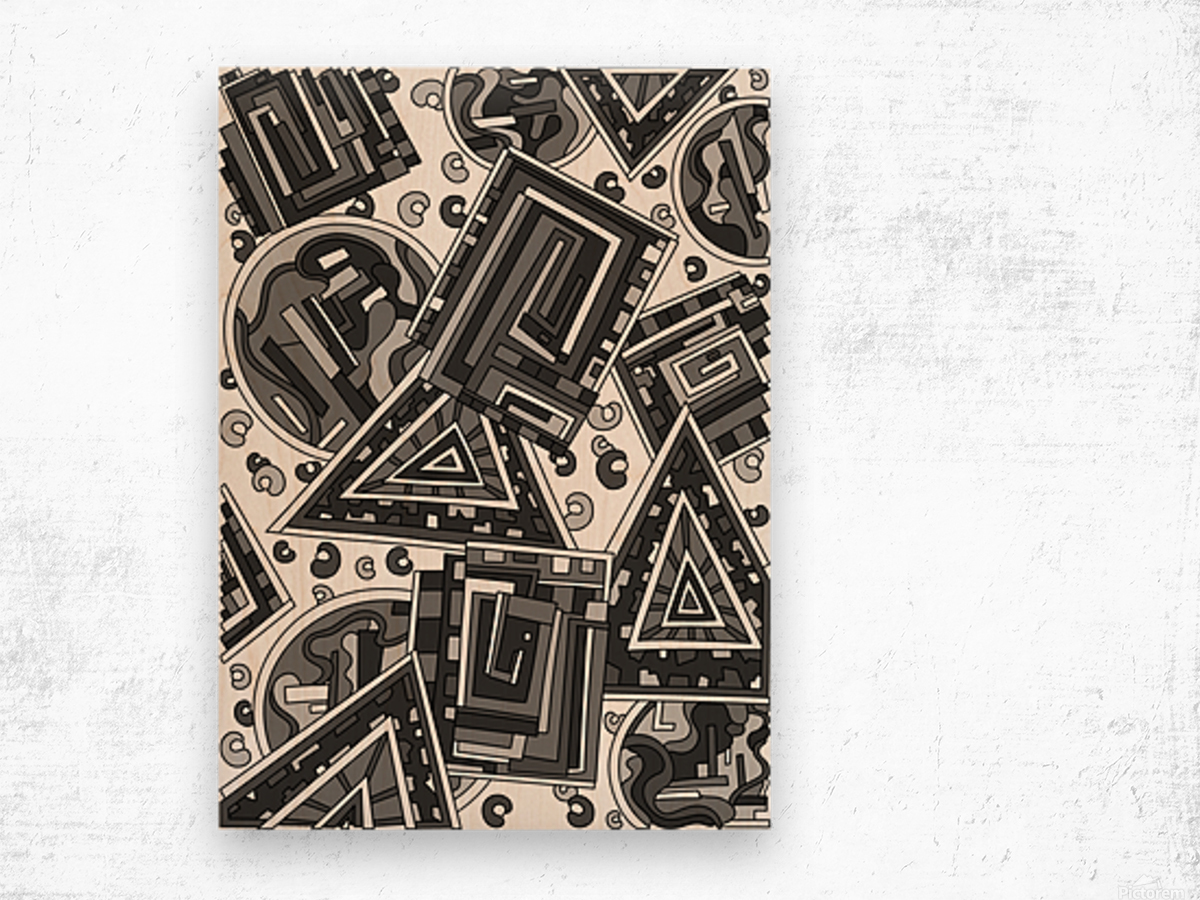 Wandering Abstract Line Art 15: Grayscale Wood print