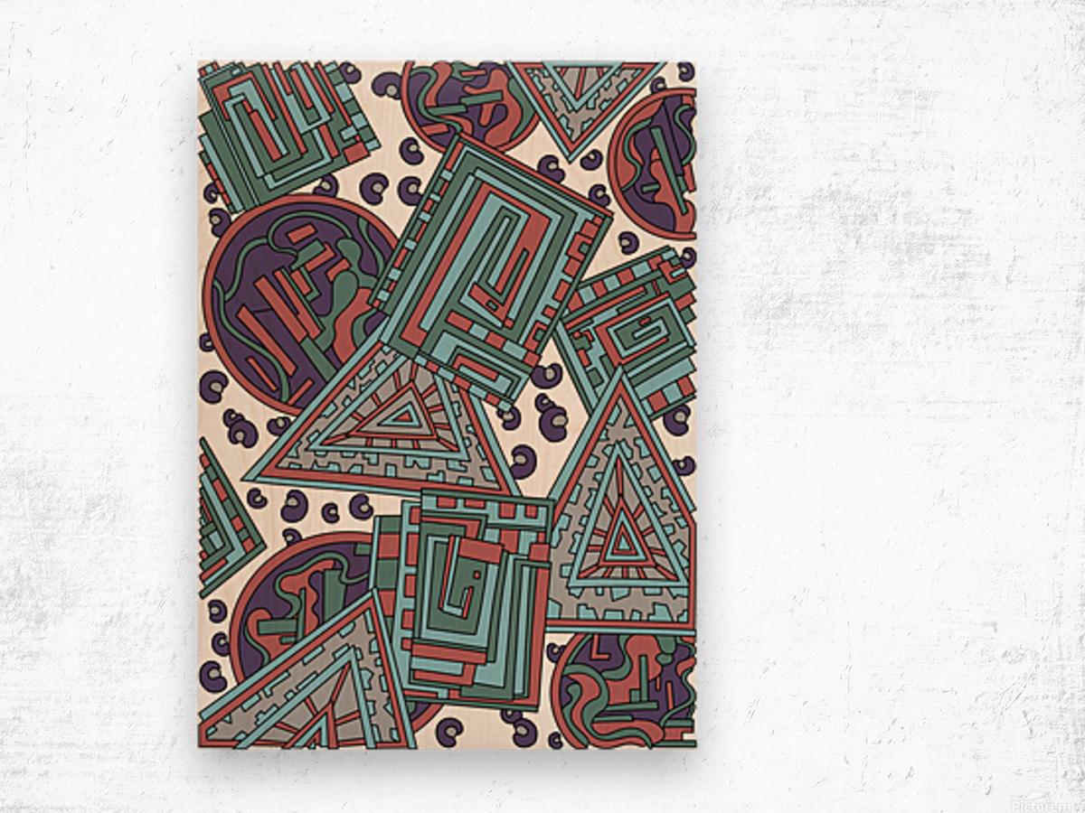 Wandering Abstract Line Art 15: Blue Wood print
