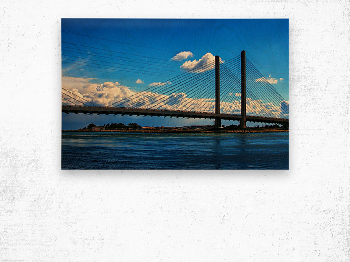 South Stanchions of the Indian River Inlet Bridge Wood print