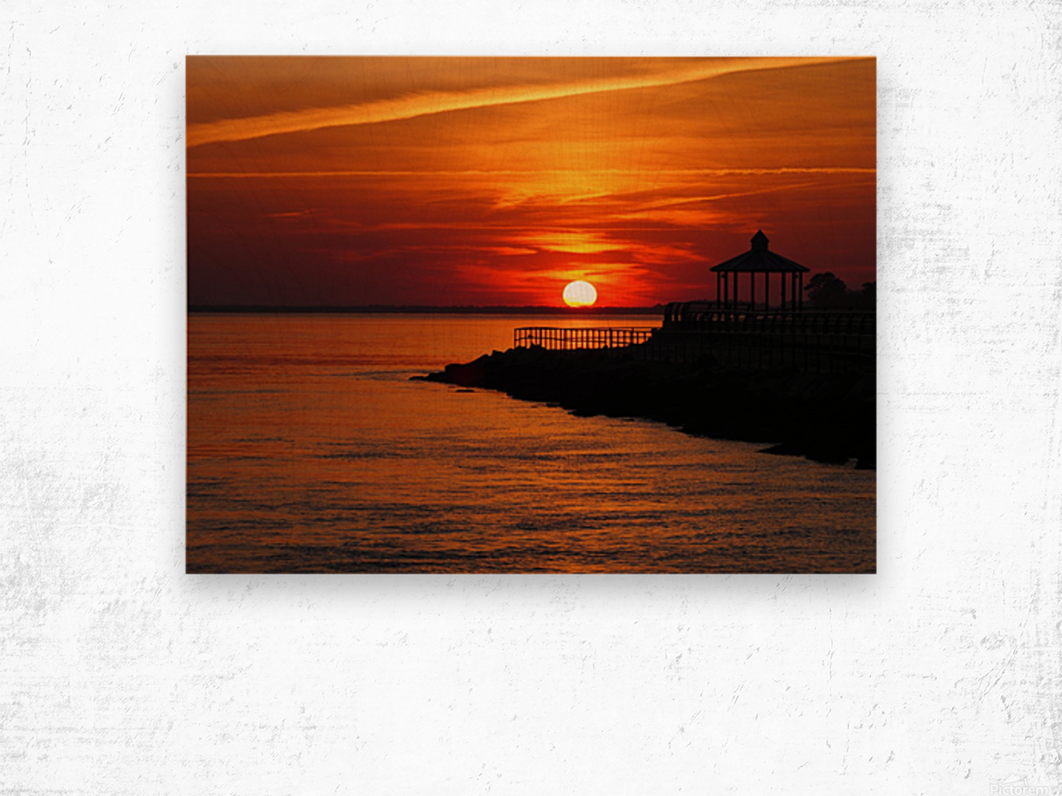 Sunset Over Indian River Inlet And Bay Wood print