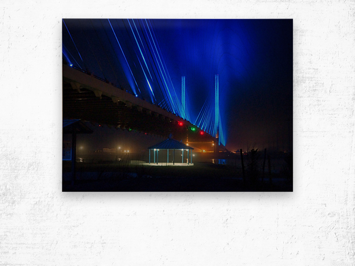Foggy Night at the Indian River Bridge Wood print