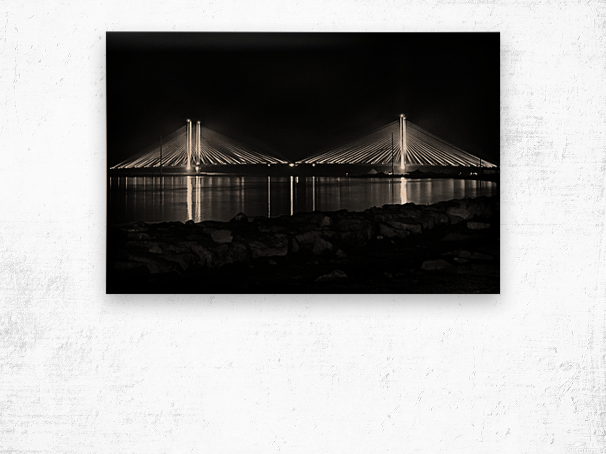 Indian River Bridge After Dark in Black and White Wood print