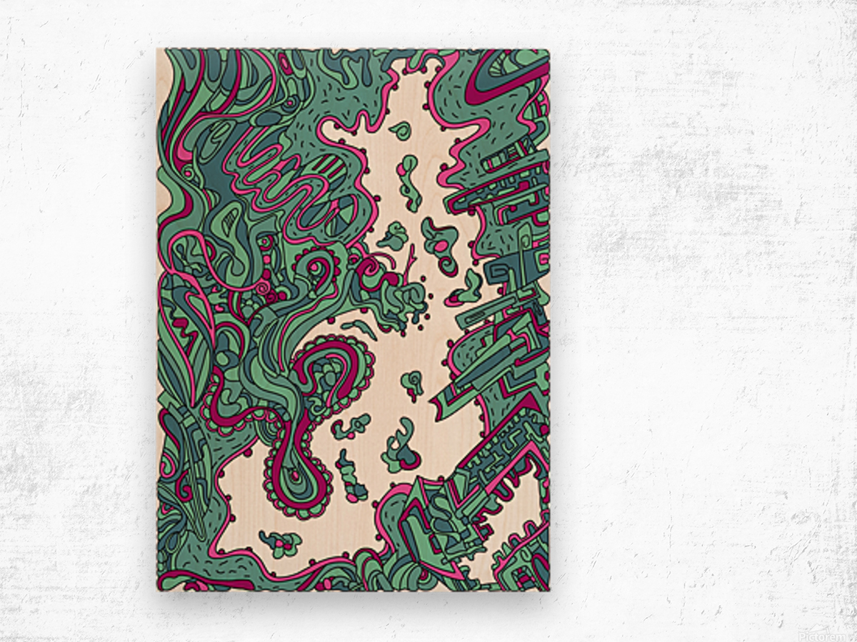 Wandering Abstract Line Art 20: Green Wood print