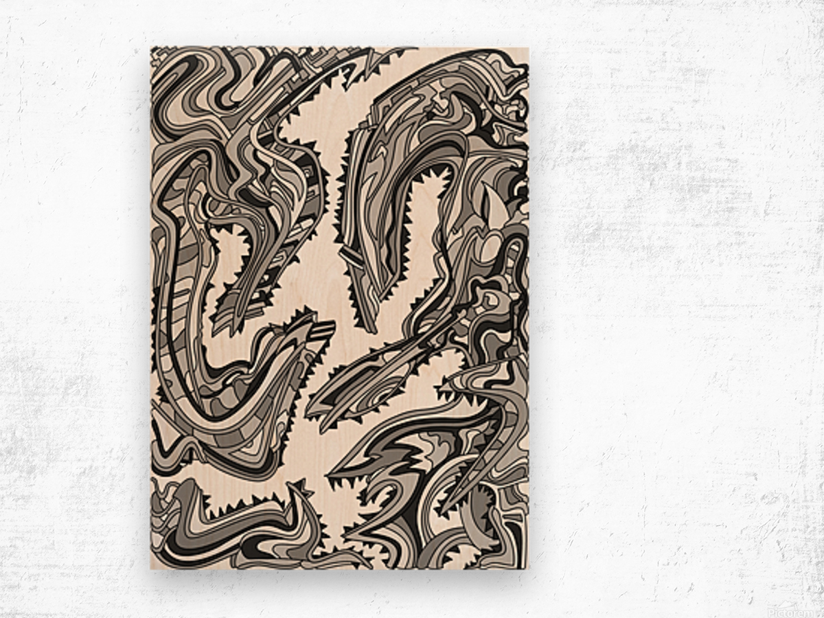 Wandering Abstract Line Art 26: Grayscale Wood print