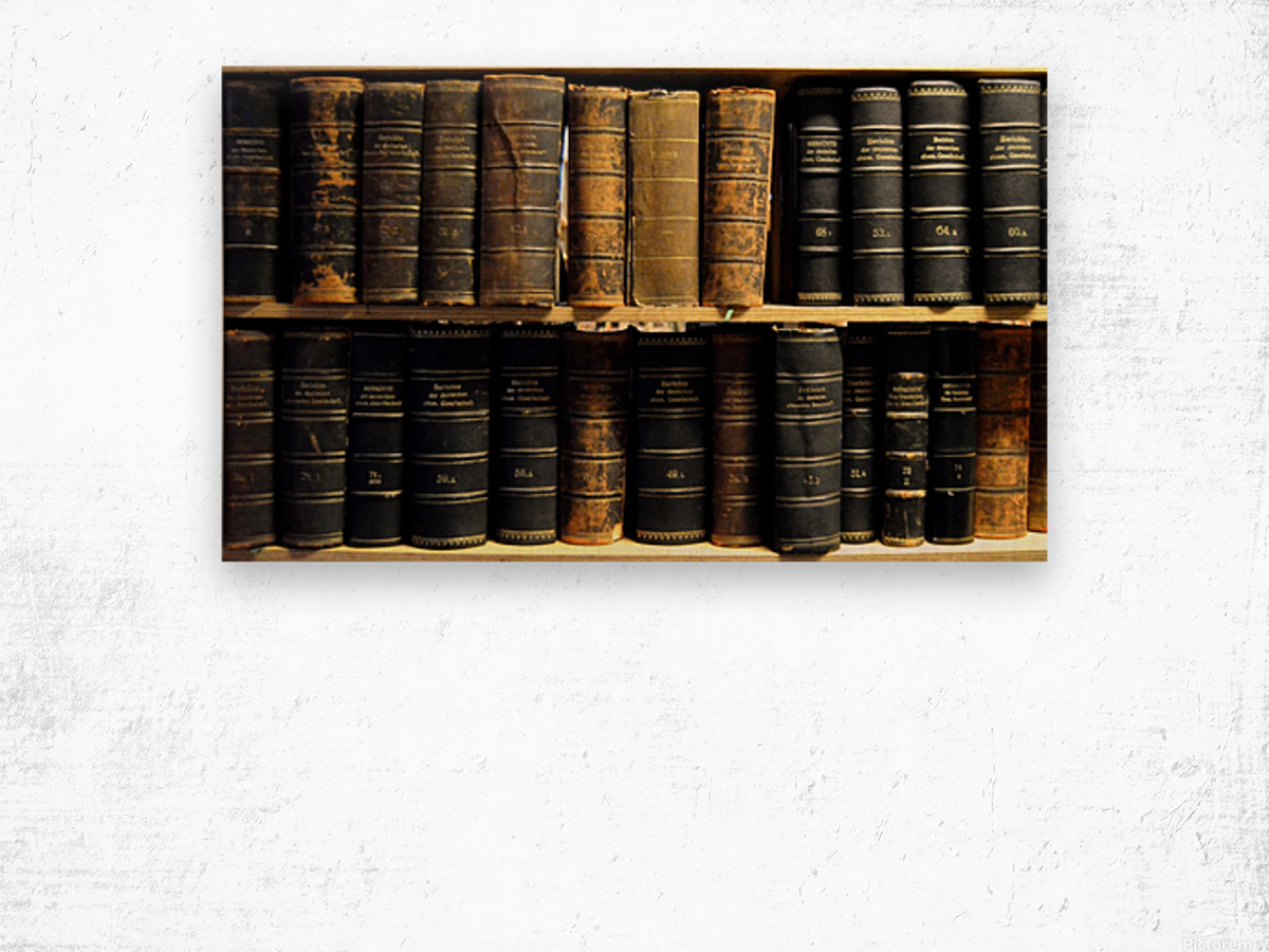 books old vintage library shelves Wood print