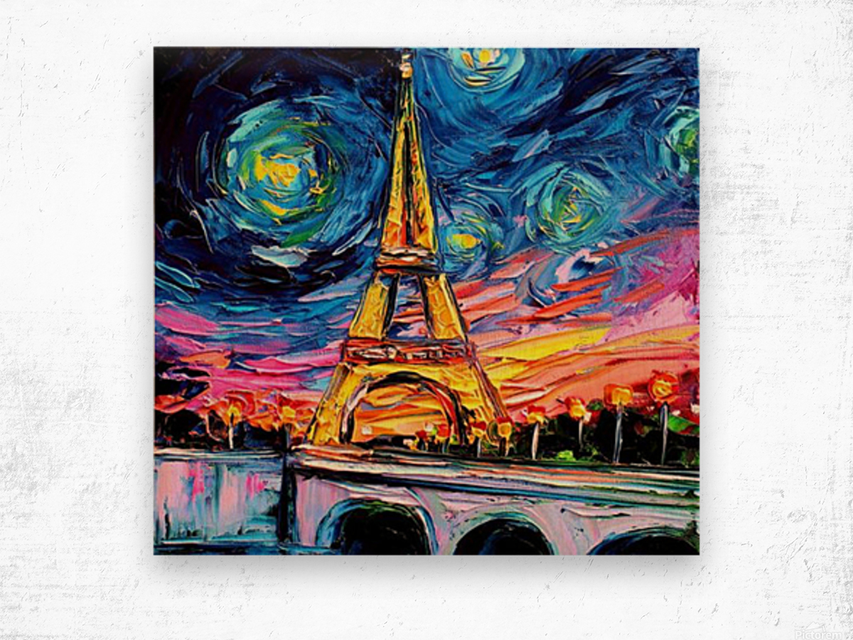 Eiffel Tower Starry Night print van Gogh Wood print
