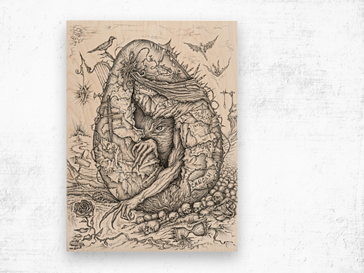 Monster_Hatching_From_The_Egg Wood print