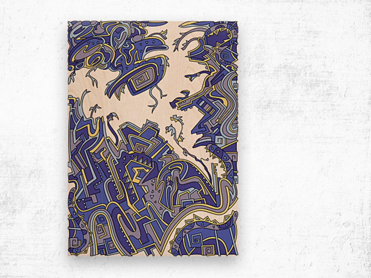 Wandering Abstract Line Art 34: Blue Wood print
