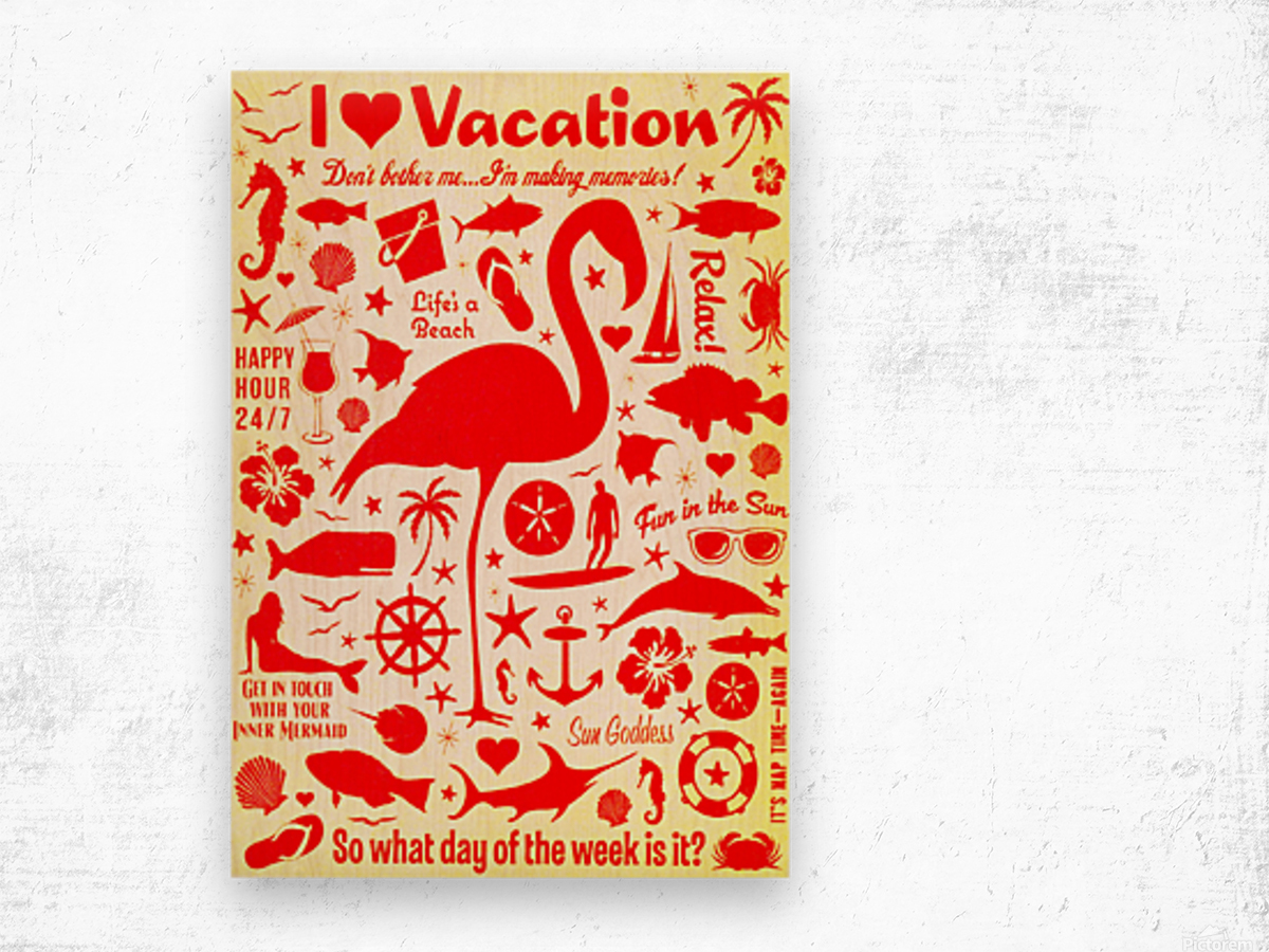 Vintage Travel - I Love Vacations Wood print