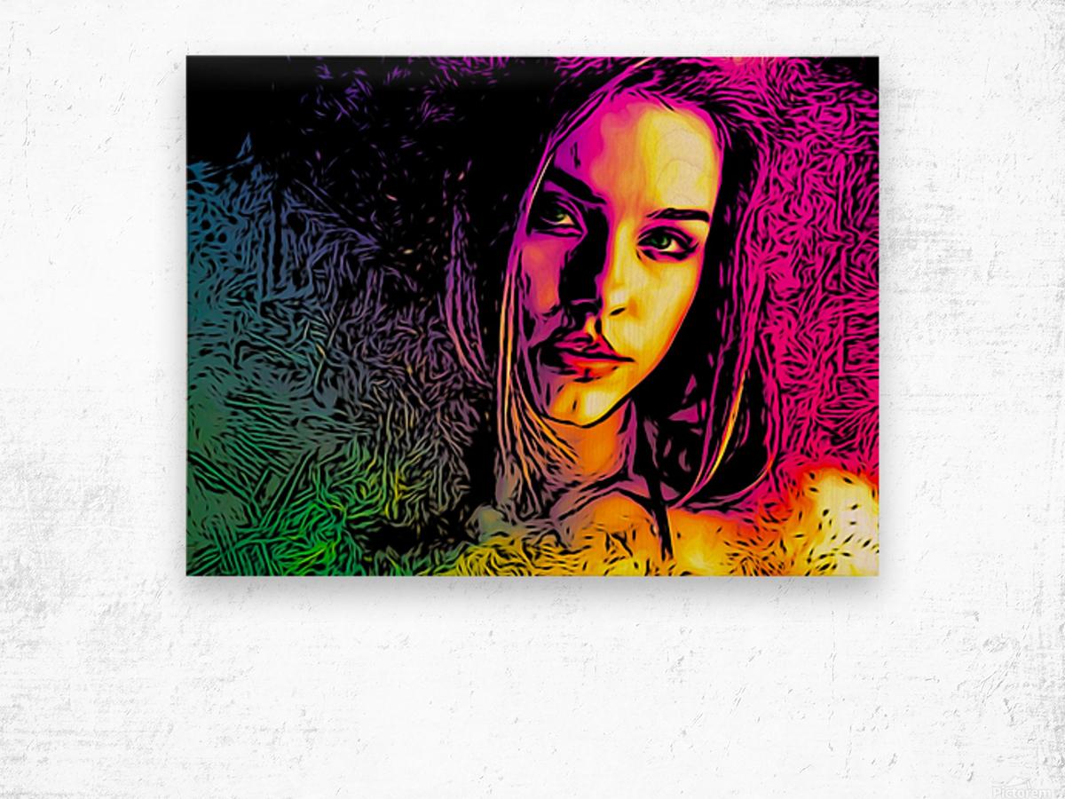 MultiColor Girl Wood print