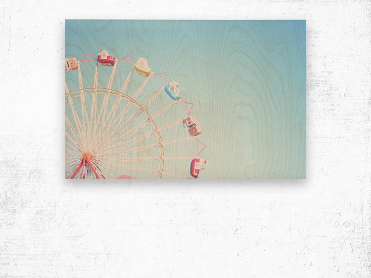 Ferris Wheel Against the Sky Wood print