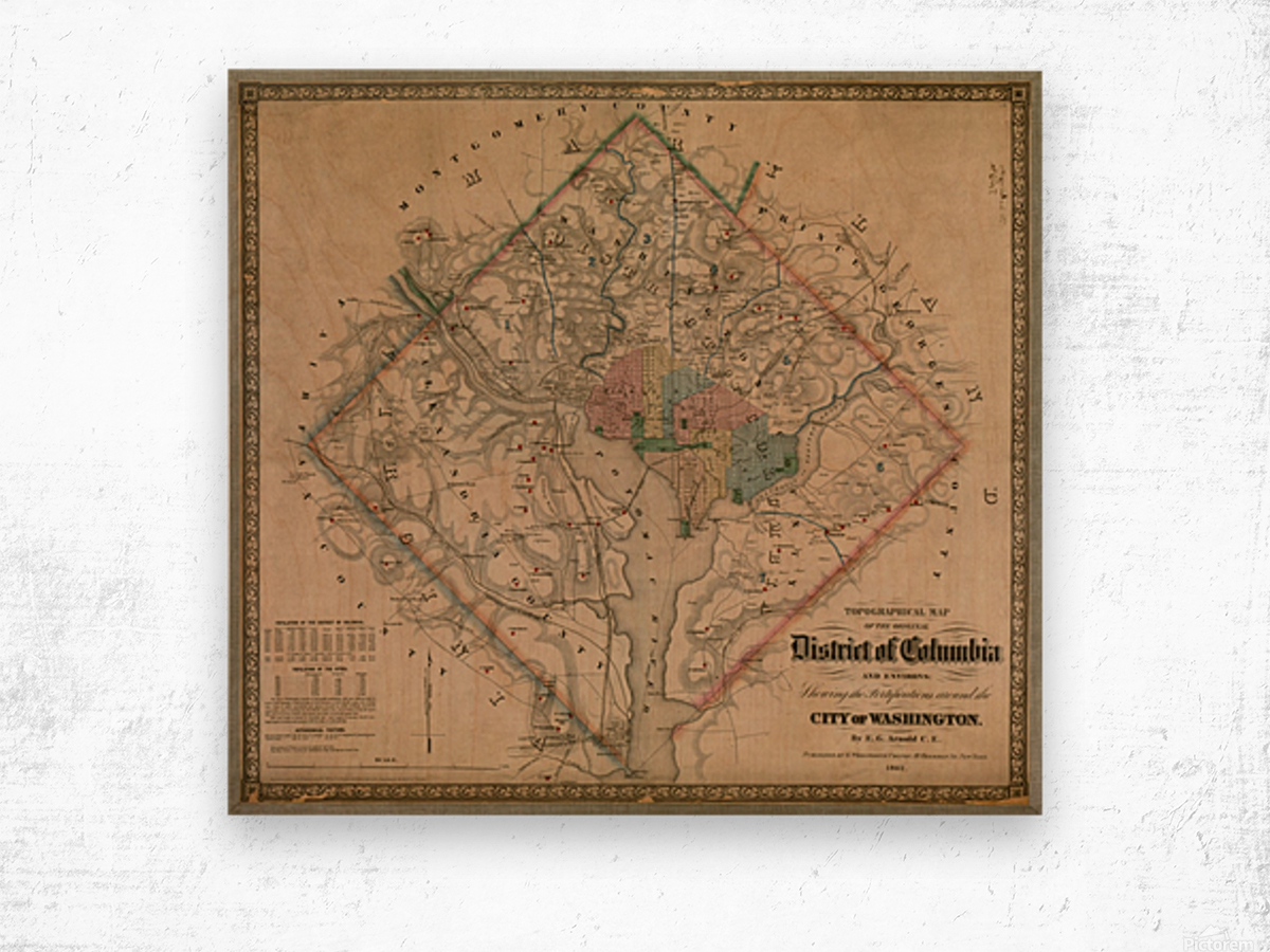 19th Century District of Columbia Map 1862 Wood print