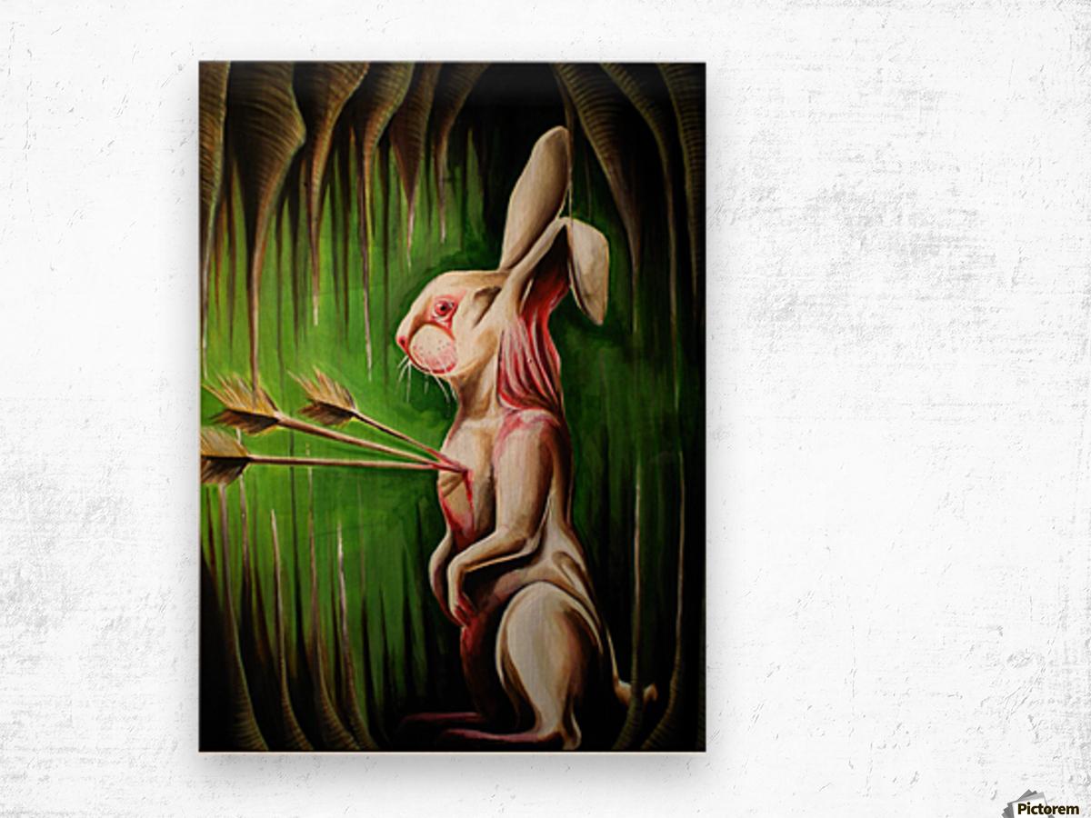 White Rabbit Impression sur bois