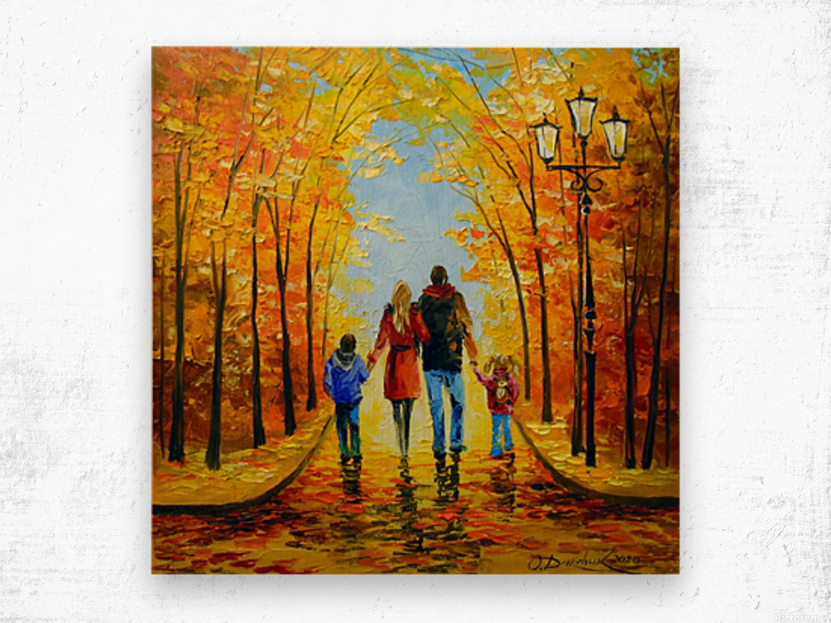 Walk with the whole family in the autumn Park Wood print