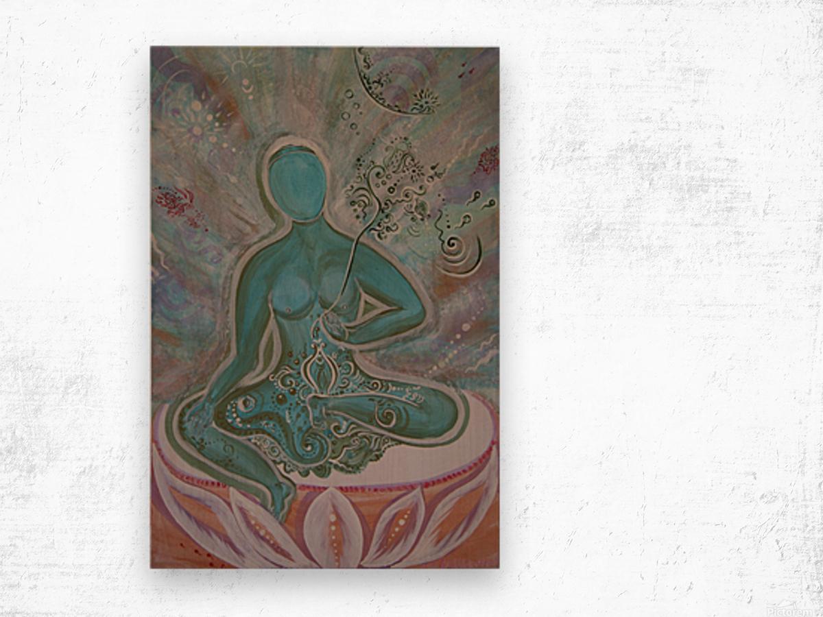 Green Buddha Tara Wood print
