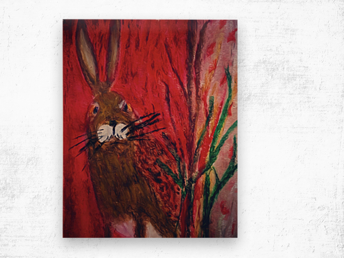 Red Rabbit Wood print