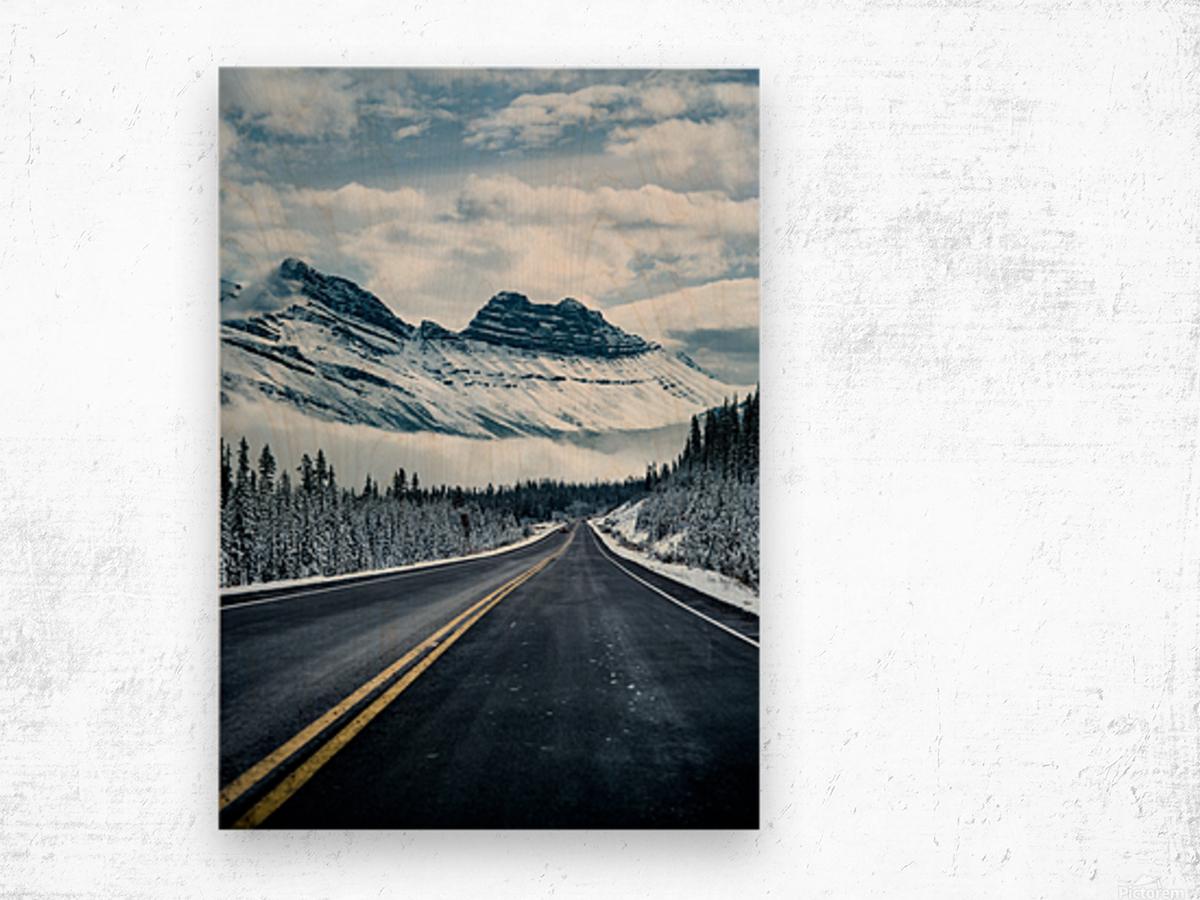 Icy Roads Wood print