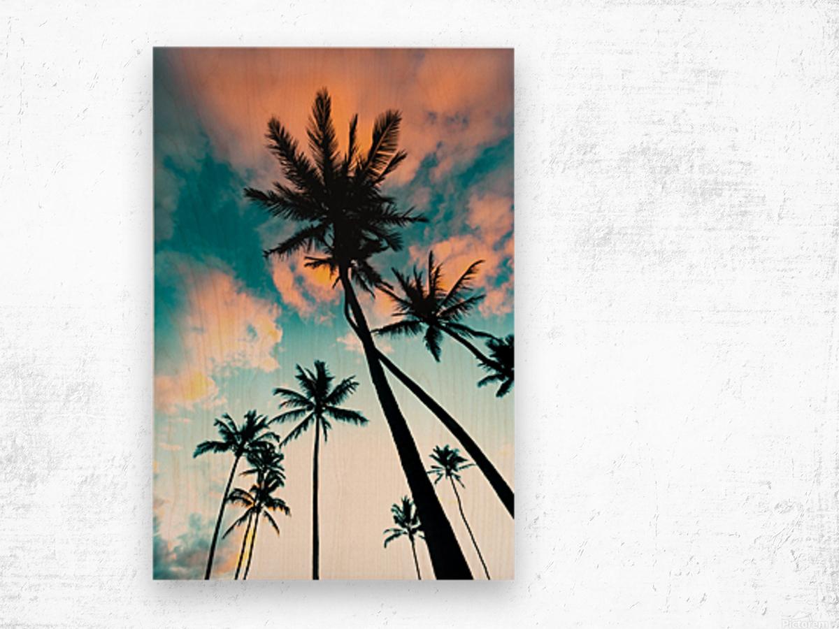 Palm Tree Sunrise Wood print
