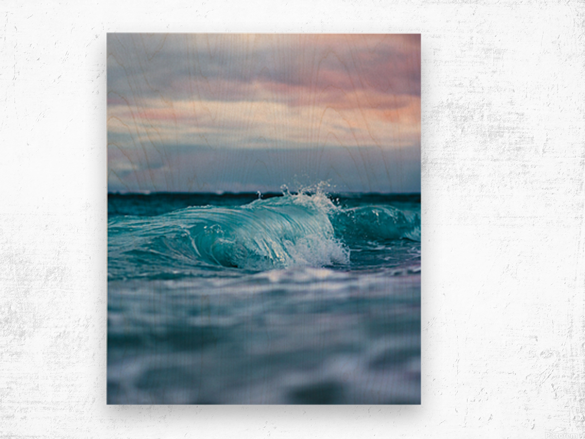 Blue Waves Wood print