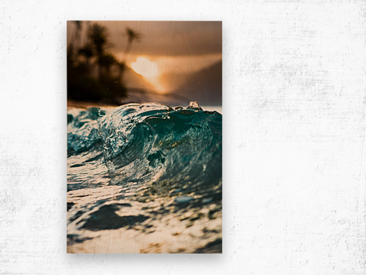 Glassy Wave Wood print