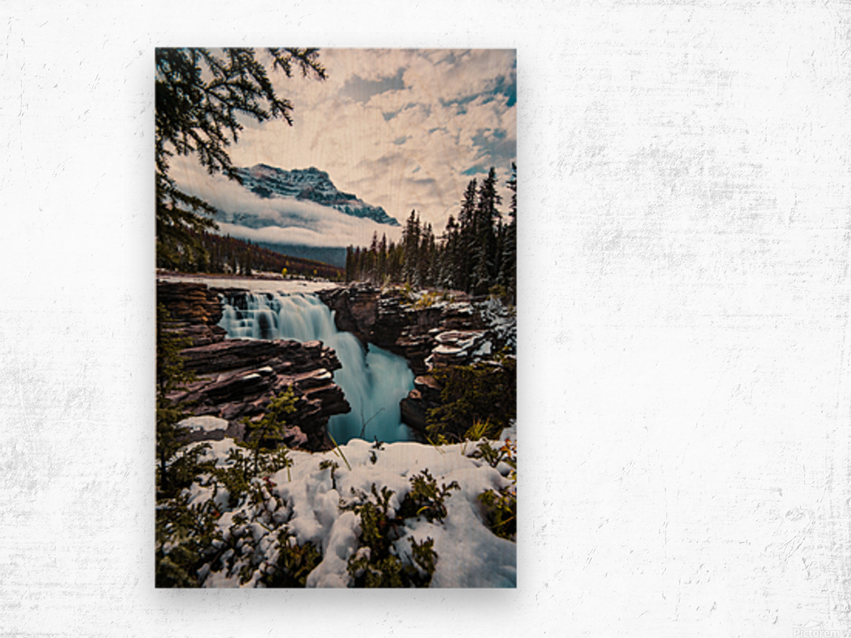 Wintry Waterfall Wood print