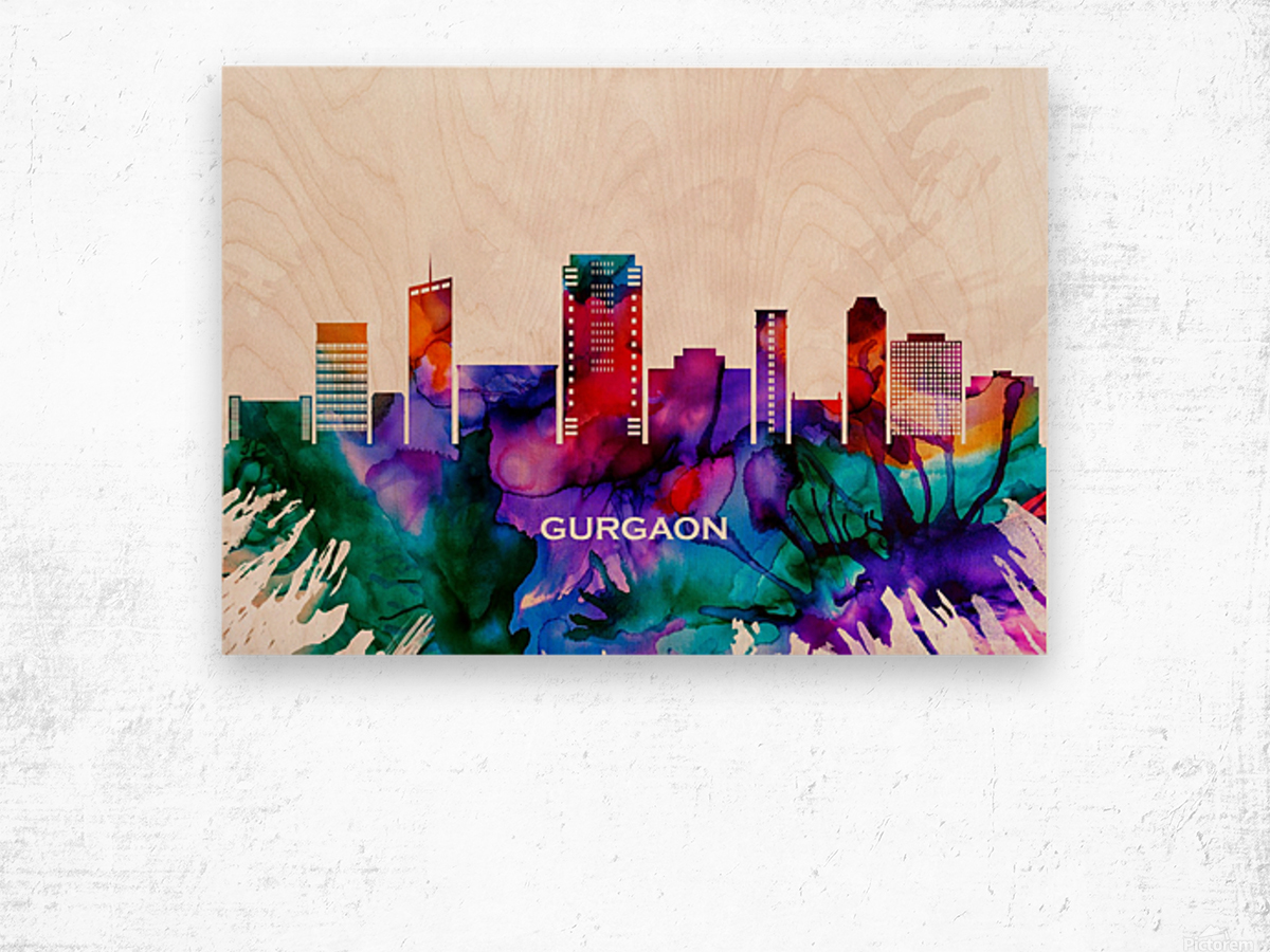 Gurgaon Skyline Wood print