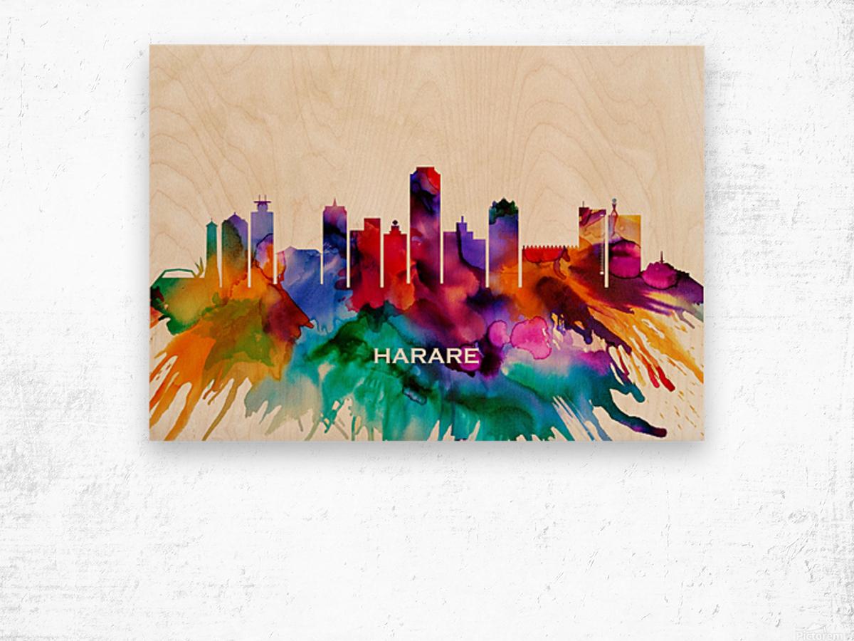Harare Skyline Wood print