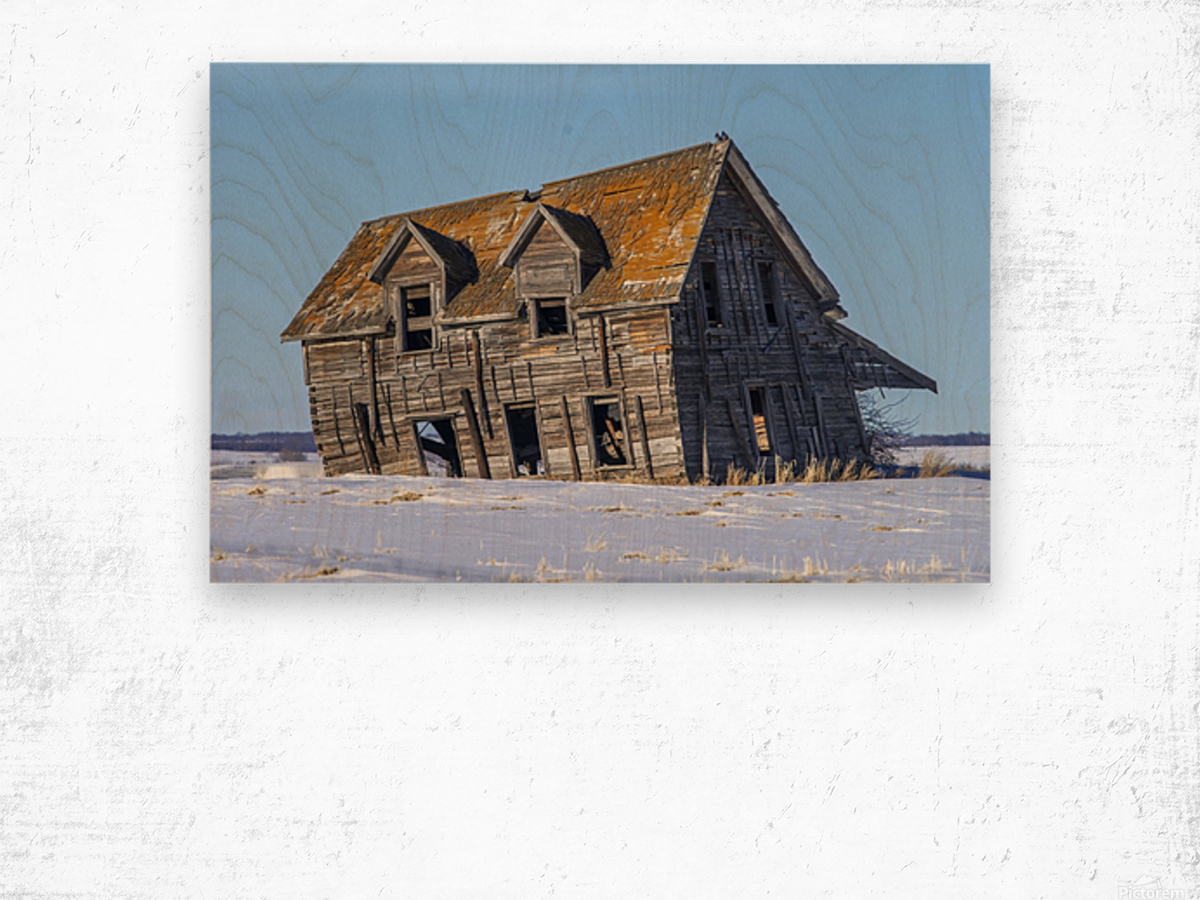 Abandoned Farm House Alberta Canada Wood print