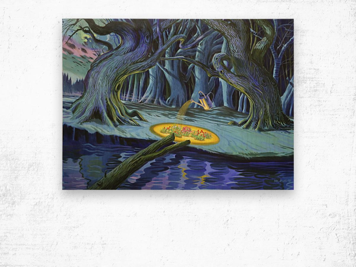 Mystic Flower Garden Wood print