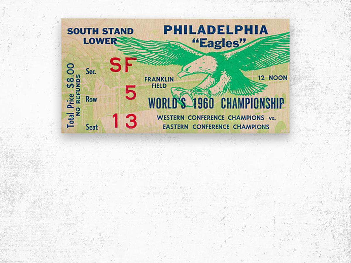 1960 Philadelphia Eagles Football Ticket Wood print