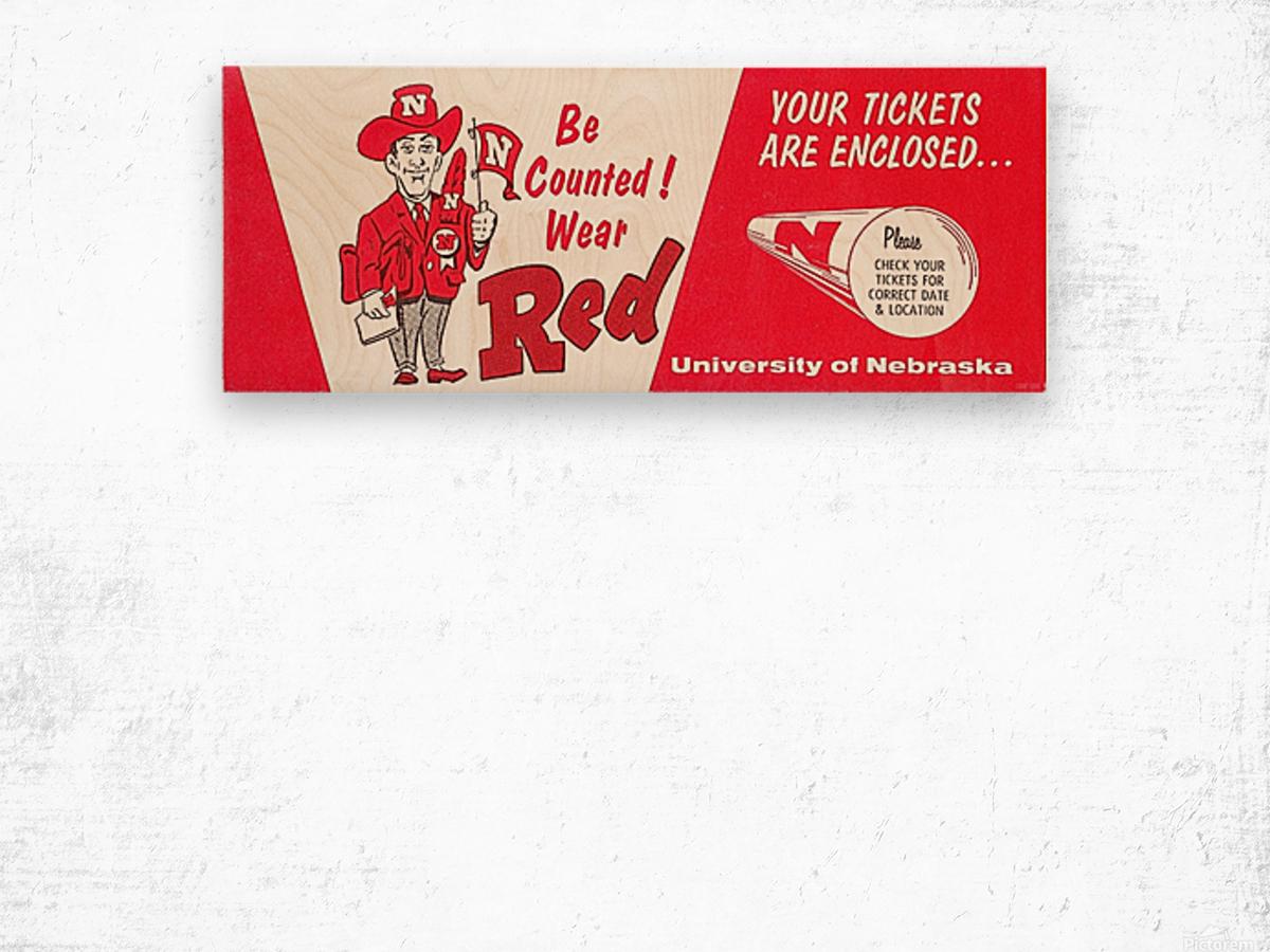 1974 Nebraska Cornhusker Ticket Art Wood print