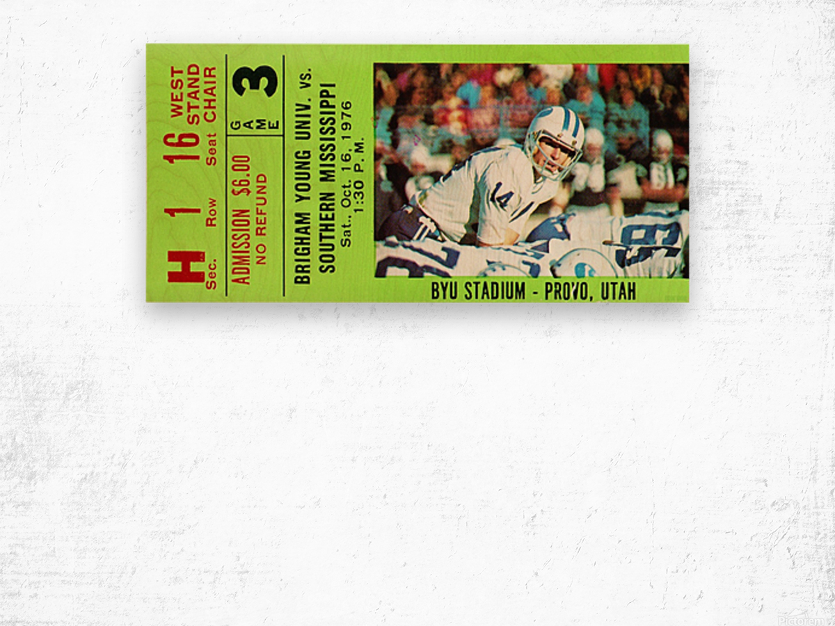 1976 BYU Cougars Ticket Stub Wood print