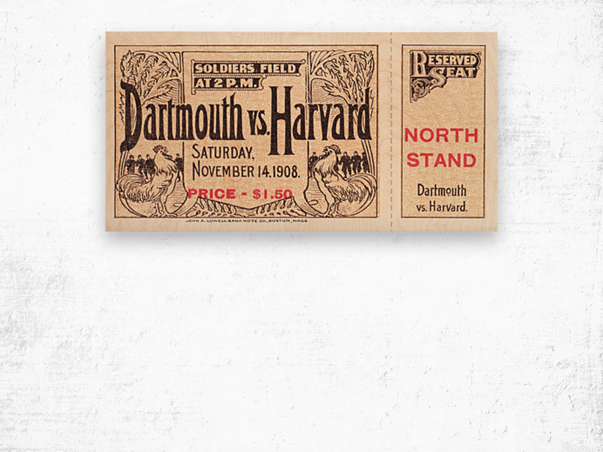 1908 Dartmouth vs. Harvard Wood print