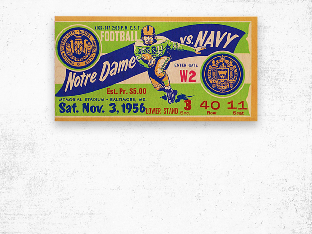 1956_College_Football_Notre Dame vs. Navy_Memorial Stadium_Baltimore_Row One Brand Wood print